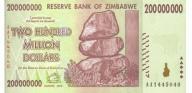 ZIMBABWE 200000000 Dollars 2008 P-81 UNC
