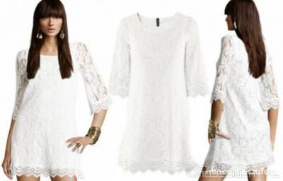 ec4ae7ee0c biała sukienka z koronki H M roz M   38 - 5511687897 - oficjalne ...