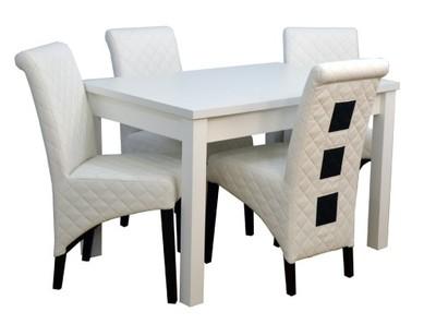 Meble M5stół I Krzesła 4 Szt Białe Salon Nowość 6635643188
