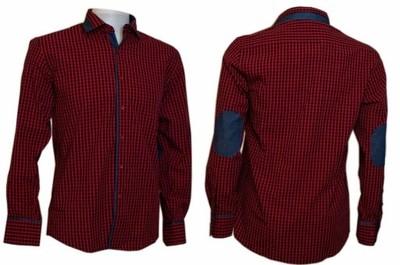 4142 L Koszula męska Slim kratka czerwona ŁATY 6563168420  7mapU