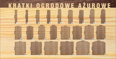 Kratka ażurowa drewno, pergola trejaż, 30 wzorów