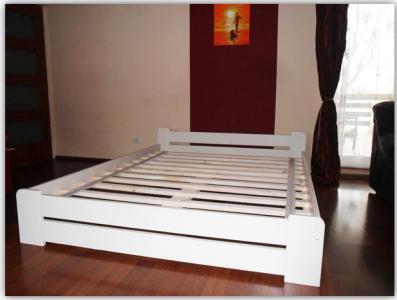 Oryginał białe łóżko drewniane 120x200 + stelaż , wzór IKEA - 5659472603 IR91