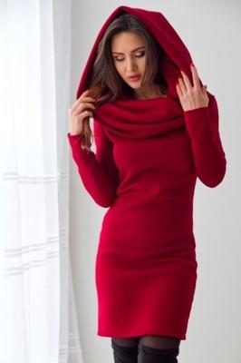b9d836284c Ocieplana bordowa sukienka na zimę ROZ-S-M-L - 6670652631 ...