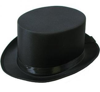 Czarny kapelusz atłasowy cylinder strój karnawał