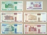 Zestaw 6 banknotów Białoruś od 1 zł