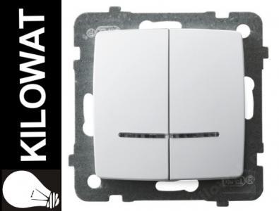 OSPEL KARO Łącznik podwójny podświetlany biały