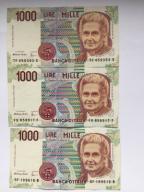Włochy  3 x 1000  Lirów z 1990 roku