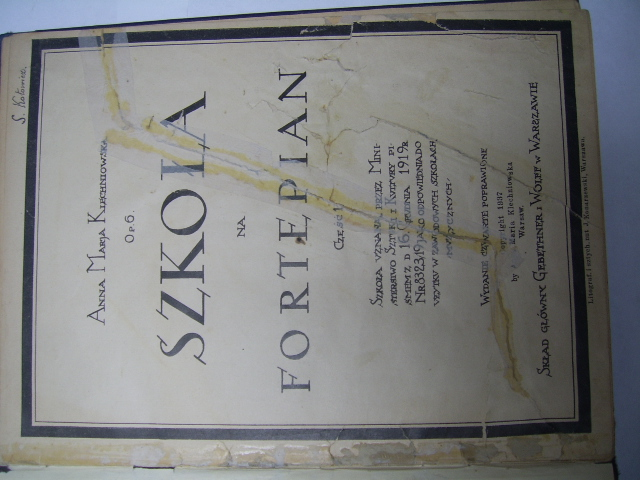 SZKOŁA NA FORTEPIAN WARSZAWA 1919 R