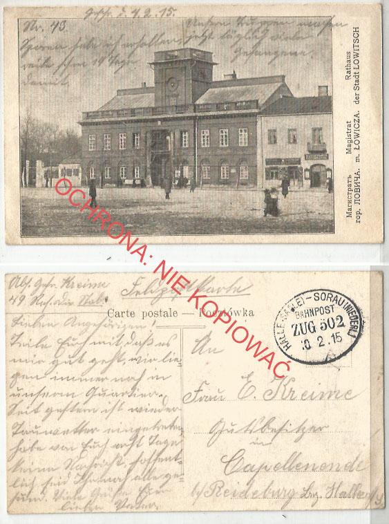 Łowicz, Magistrat, obieg 1915, ambulans Halle Żary