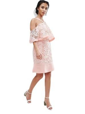 51767e8244 ASOS sukienka różowa koronka Jarlo Petite 36 8 S - 6914697241 ...