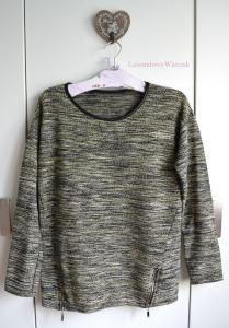 MANGO bluza melanż m/L zip vintage skórka lamówka