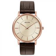 Bulova Men's Designer Watch Leather Strap - Brown