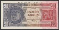 Czechosłowacja - 20 koron - 1926 - stan bank UNC