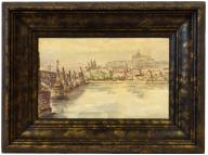 1942 r. Praga akwarela pejzaż 36,5x27 cm