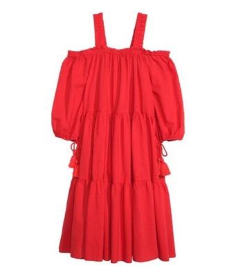 bfa0297e03 H M BOHO sukienka FRĘDZLE czerwona ramiona 40 - 6817855764 ...