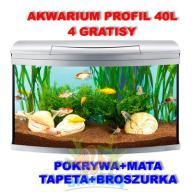 AKWARIUM 40L PROFIL+Pokrywa Srebrna+4gratisy