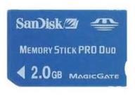 karta Memory Stick Pro Duo 2GB, aparat SONY