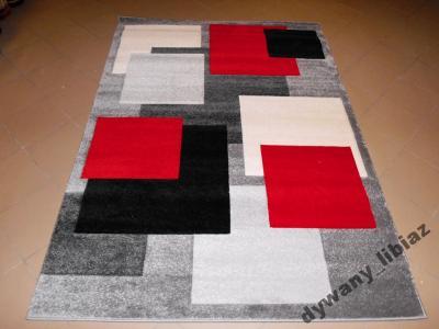 Dywan RUMBA 1.8x2.7 cm szary czerwony 3D Gruby HIT
