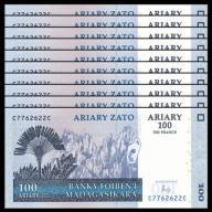 MADAGASCAR 100 ARIARY 2004 (2016) 10 szt banknotów