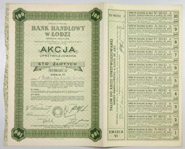 967. Bank Handlowy w Łodzi Em6 100zł UPRZYWILEJOWA