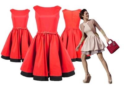 Mona 160b Sukienka Retro Rozkloszowana Wesele 38 5101921978