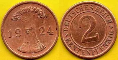 NIEMCY  2 Rentenpfennig  1924 r  J