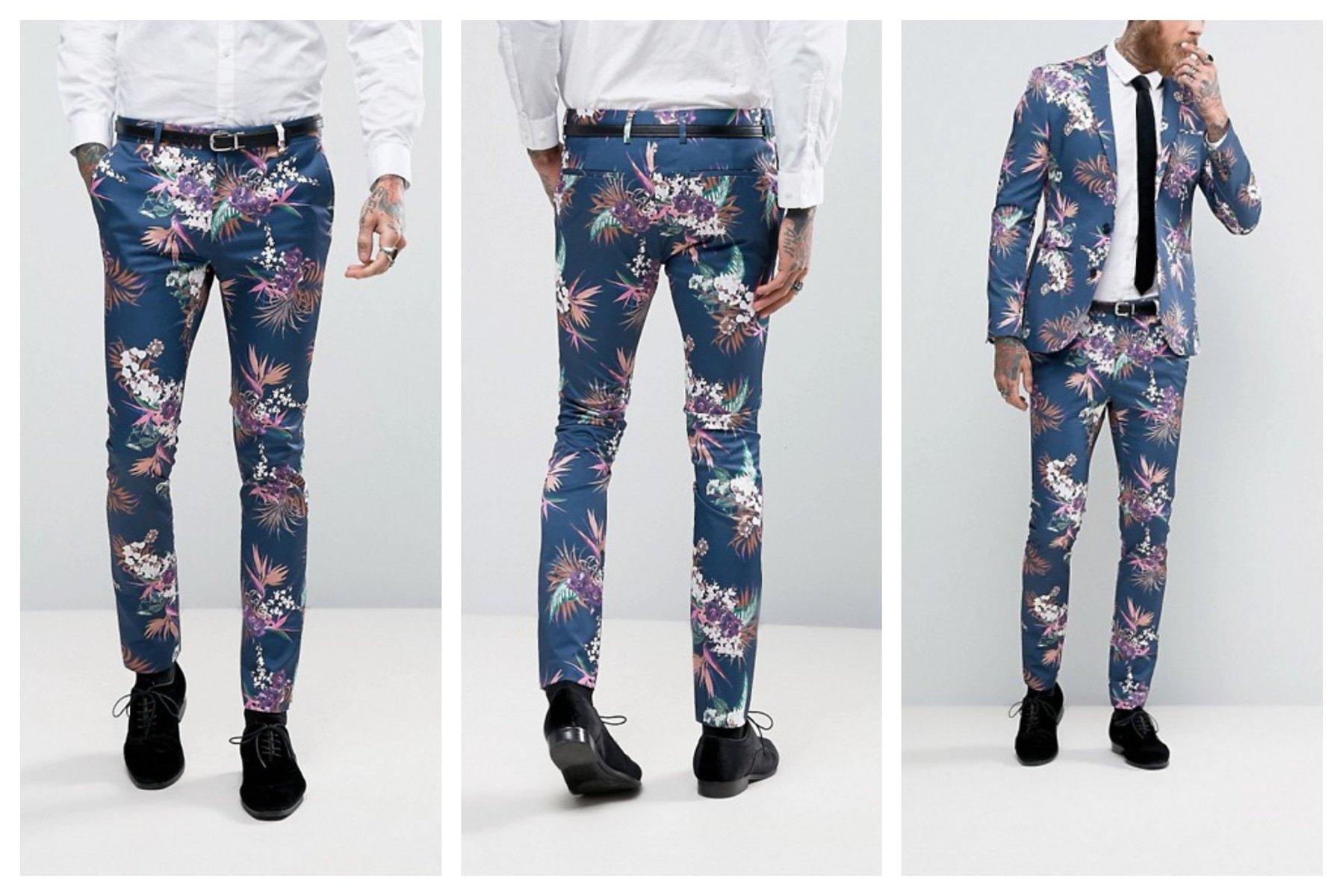 mn98 spodnie skinny granatowe kwiaty W34 L36