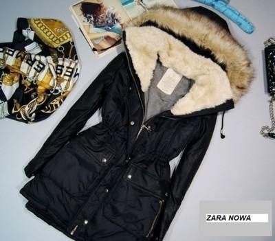 Parka kurtka zimowa Zara czarna 34 skórzane rękawy