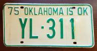 Oklahoma 1975 - tablica rejestracyjna USA