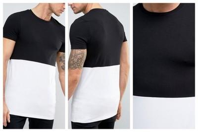 mm5 t-shirt męski biały czarny kontrast długi M