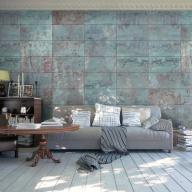 Fototapeta - Turkusowy beton panele fizelina