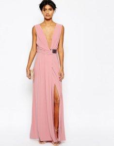 f00e1065f97189 ASOS sukienka MAXI różowa PASEK dekolt XXL 44 16 - 6090151289 ...