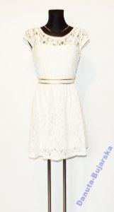 d50064613d koronkowa wieczorowa kremowa sukienka 36 38 - 6203120442 - oficjalne ...