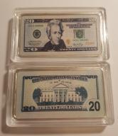 USA PIĘKNA SZTABKA 20$ AG KOLOR PLATED POLEAM