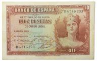 14.Hiszpania, 10 Peset 1935, P.86.a, St.3+