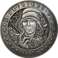 NICKEL HOBO COIN 1887 USA Morgan