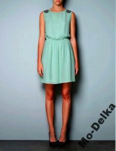 Miętowa sukienka Zara, roz. M, nowa 5915216502 oficjalne
