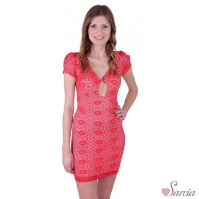 7117af5bc ASOS Malinowa sukienka mini z dekoltem 32 - 5894626765 - oficjalne ...