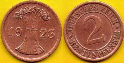 NIEMCY  2 Rentenpfennig  1923 r  A