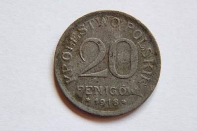 20 FENIGÓW KRÓLESTWO POLSKIE 1918 ŁADNA   - BR712