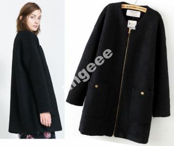 Zara czarny płaszcz boucle zip welna oversize  S
