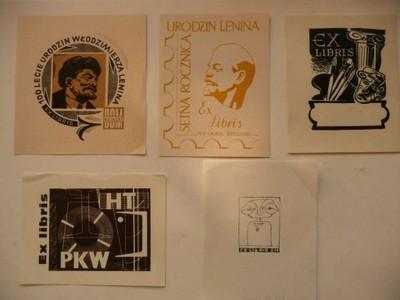 5 ekslibrisów różnych w tym Lenin