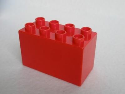 Lego Duplo klocek wysoki 2x4 czerwony 4x2