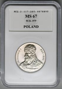 4870. 50 zł 1979 Mieszko I w opakowaniu PCG