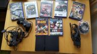 Sony PlayStation 2 (PS2) Slim, 2 pady, karta, gry