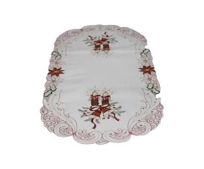 Bieżnik 40x90 haft biały święta Boże Narodzenie