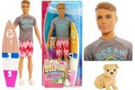 Barbie KEN SURFER + piesek + akcesoria