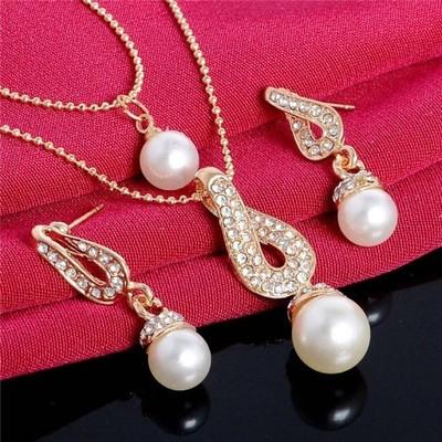 Komplet naszyjnik wielowarstwowy kolczyki perła