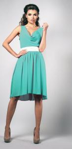 7046dd7c48 42(XL) miętowy sukienka midi 3 4 LEN-645 - 3441913044 - oficjalne ...