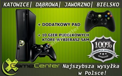 KONSOLA XBOX360 + 2 PADY + 10 GIER @ ROK GWARANCJI
